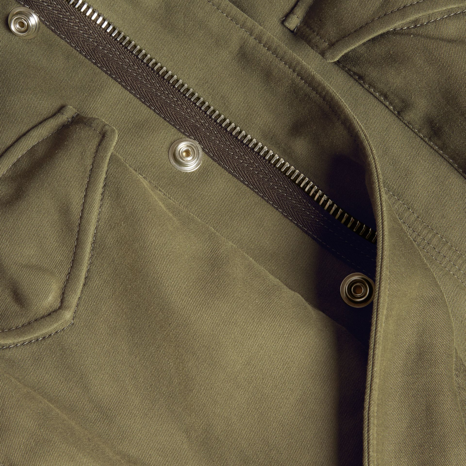 Military green Tumbled Ramie Cotton Twill Field Jacket - gallery image 2