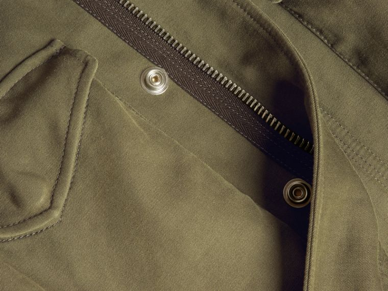 Military green Tumbled Ramie Cotton Twill Field Jacket - cell image 1