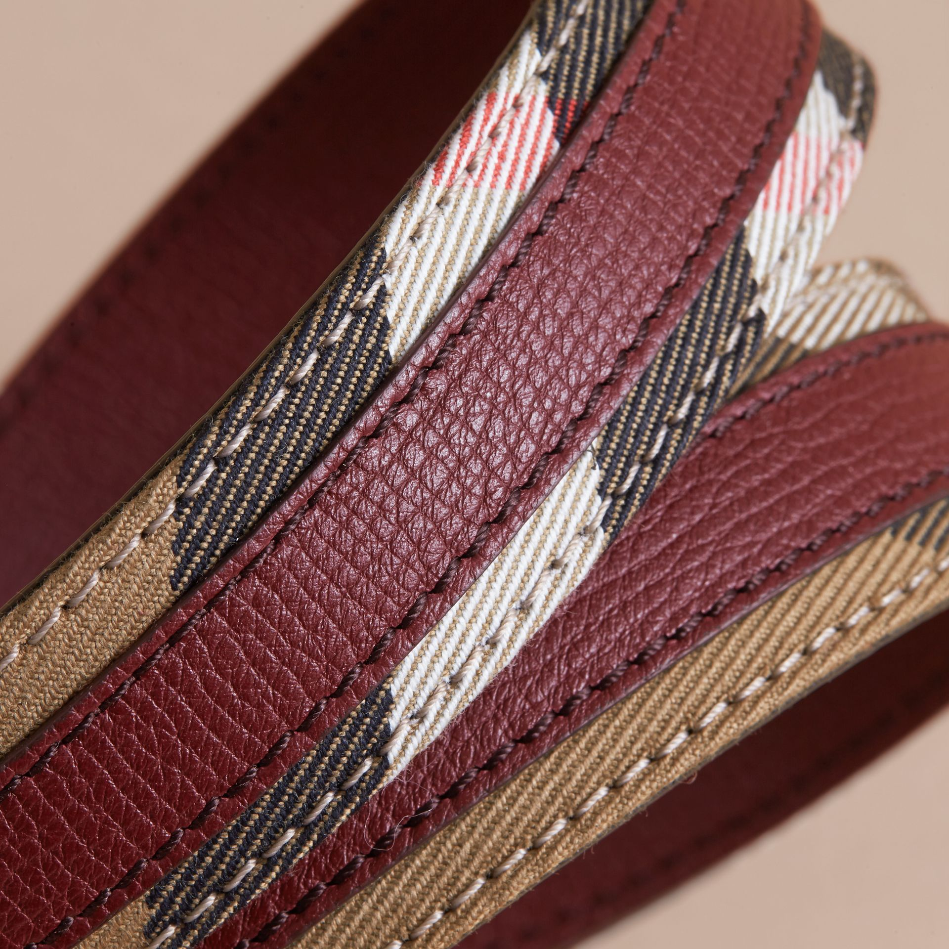 House Check and Grainy Leather Belt in Camel/mahogany Red - Women | Burberry - gallery image 3