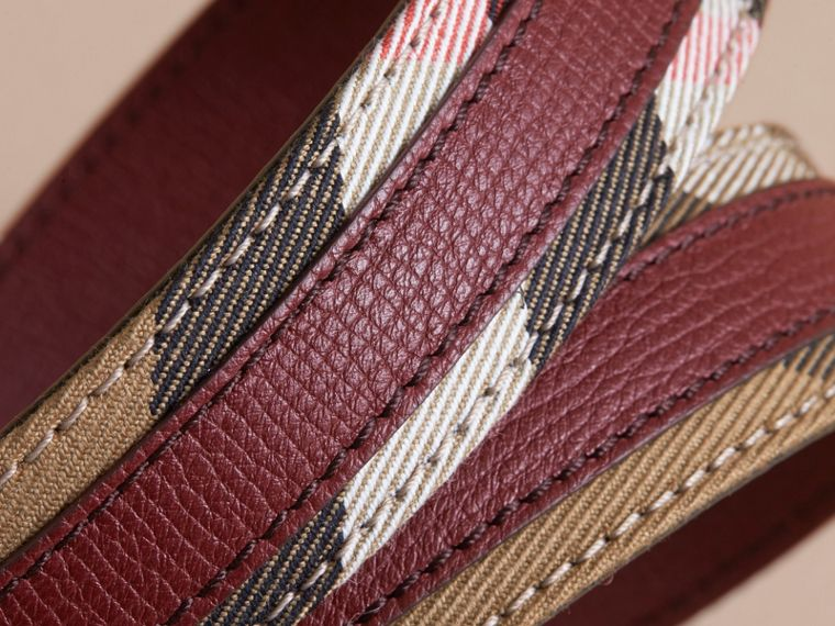 House Check and Grainy Leather Belt in Camel/mahogany Red - Women | Burberry - cell image 2