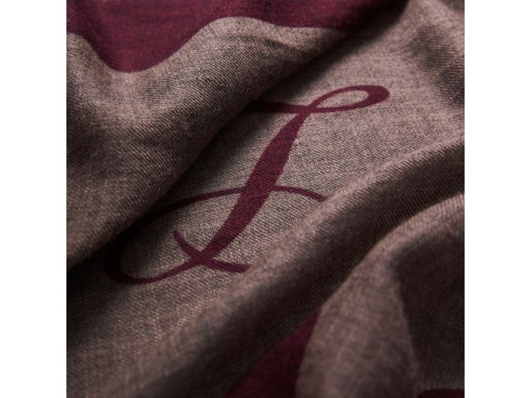 Graphic Print Motif  Lightweight Cashmere Scarf in Ash Rose - Women | Burberry United Kingdom - cell image 1