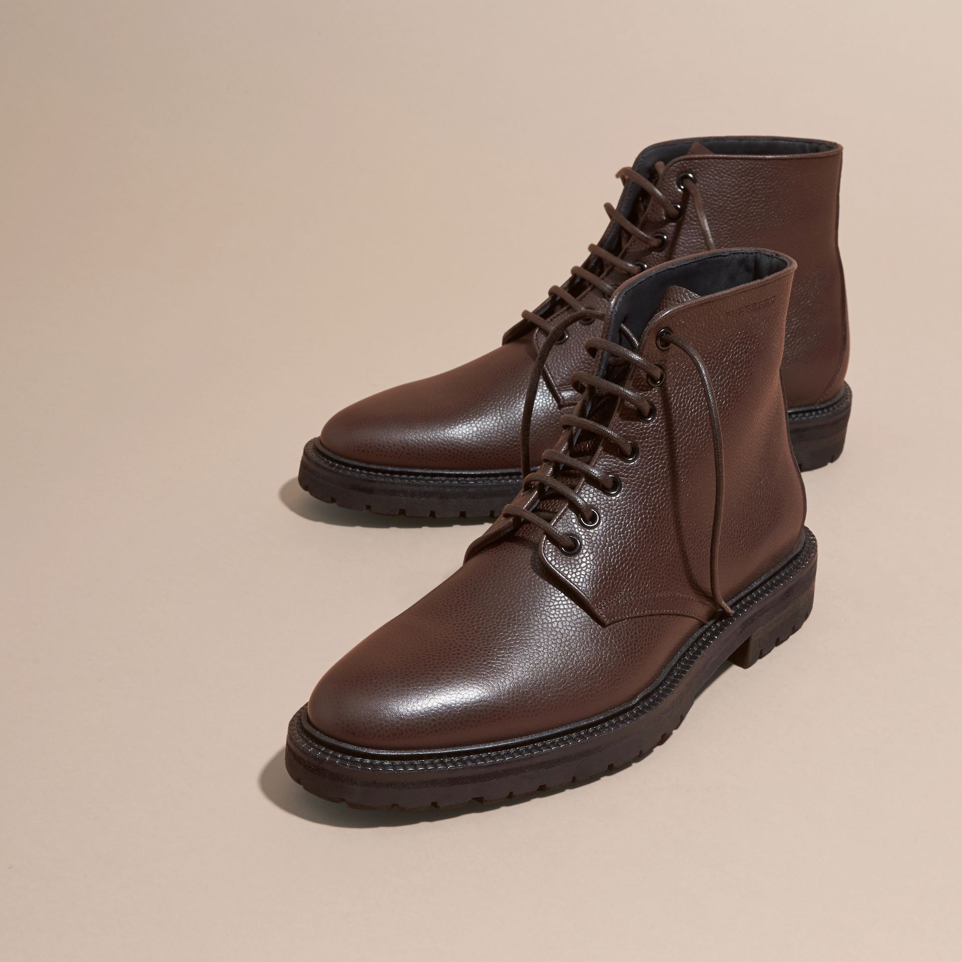 Chestnut Lace-up Grainy Leather Boots Chestnut - gallery image 3