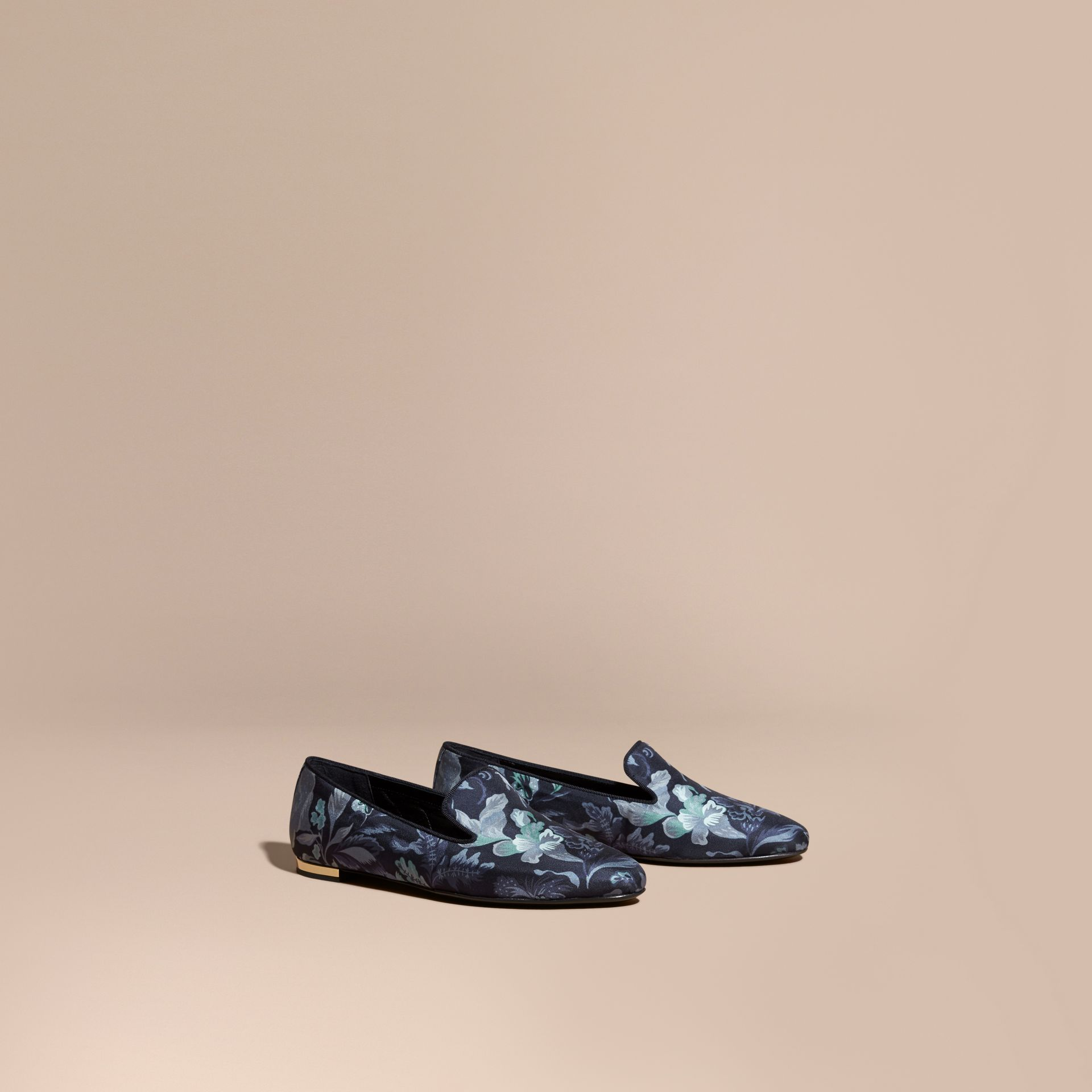 Navy Floral Print Silk Cotton Loafers - gallery image 1
