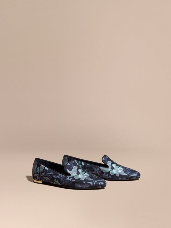 Floral Print Silk Cotton Loafers