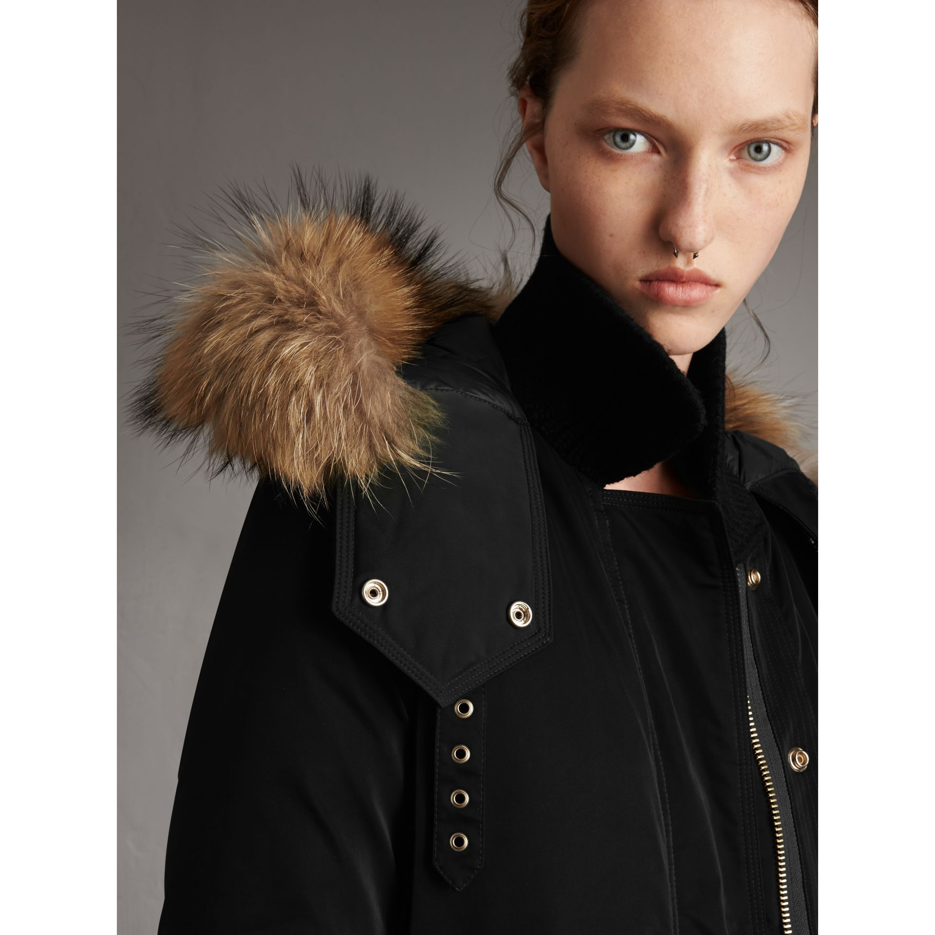 Down-filled Parka Coat with Detachable Fur Trim in Black - Women | Burberry - gallery image 2