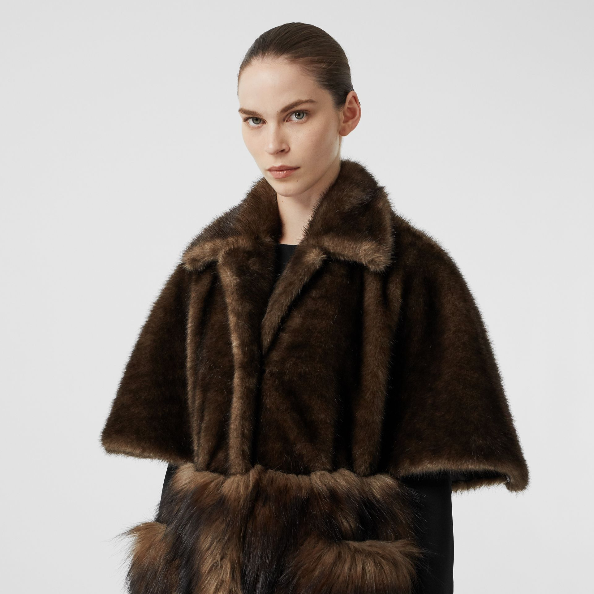 Faux Fur Cape Coat in Brown - Women | Burberry - gallery image 1