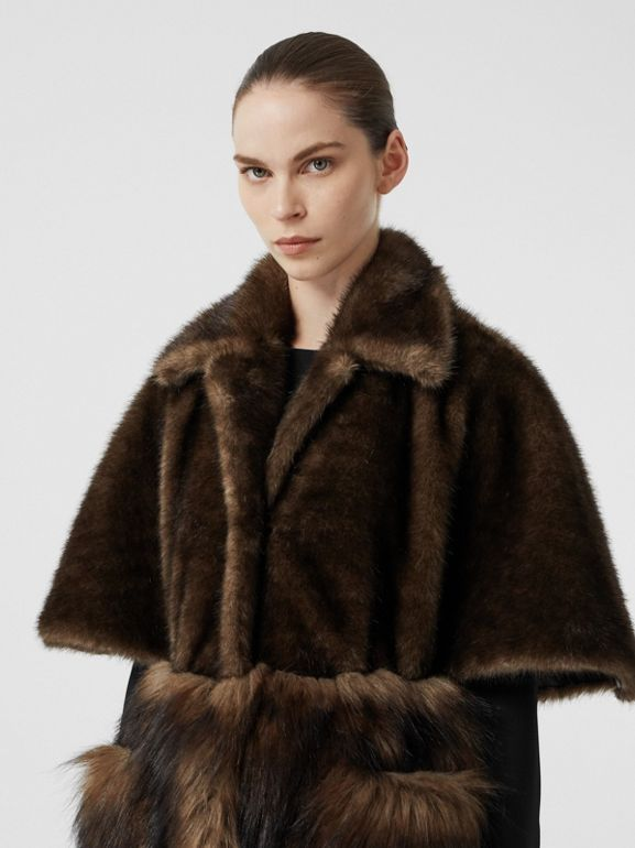 Faux Fur Cape Coat in Brown - Women | Burberry - cell image 1
