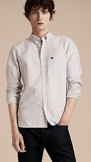 Camicia Oxford con colletto button-down in cotone a righe