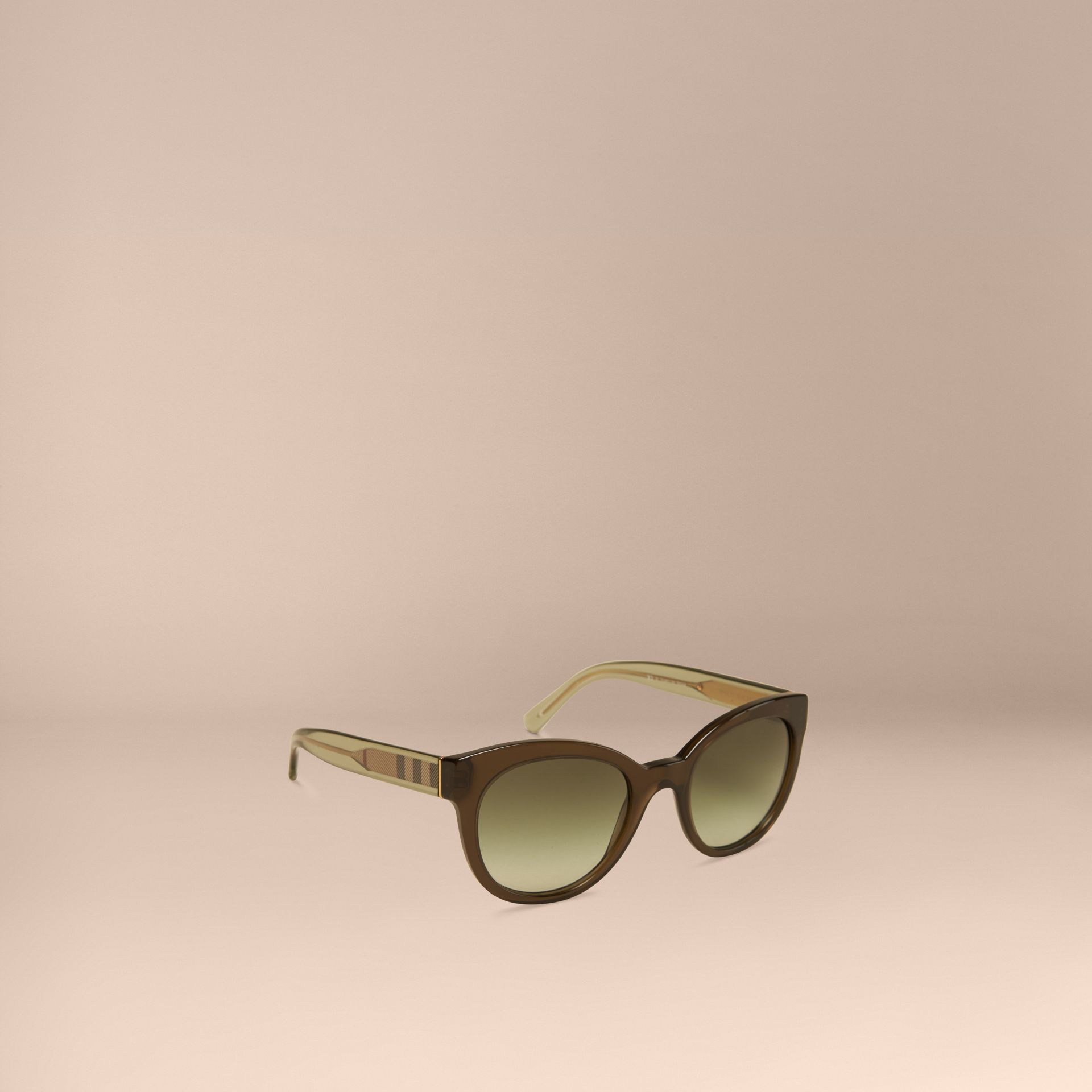 Olive Check Detail Oval Sunglasses Olive - gallery image 1