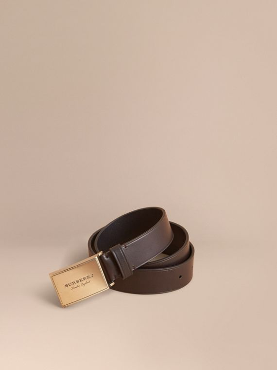 Polished Plaque Buckle Leather Belt