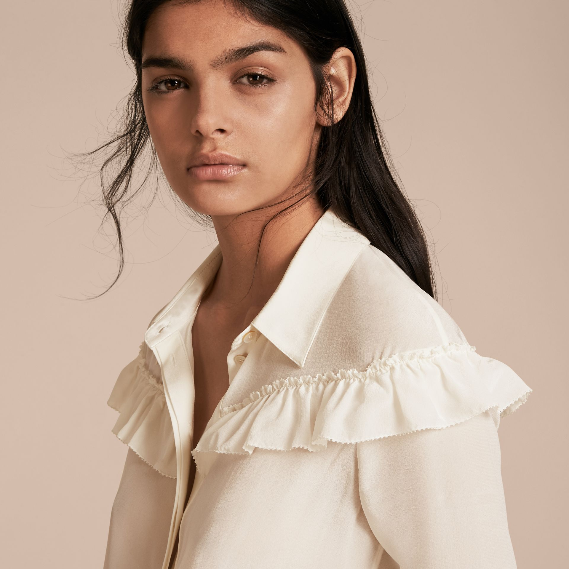 Frill Detail Silk Crepe De Chine Shirt in Natural White - gallery image 6