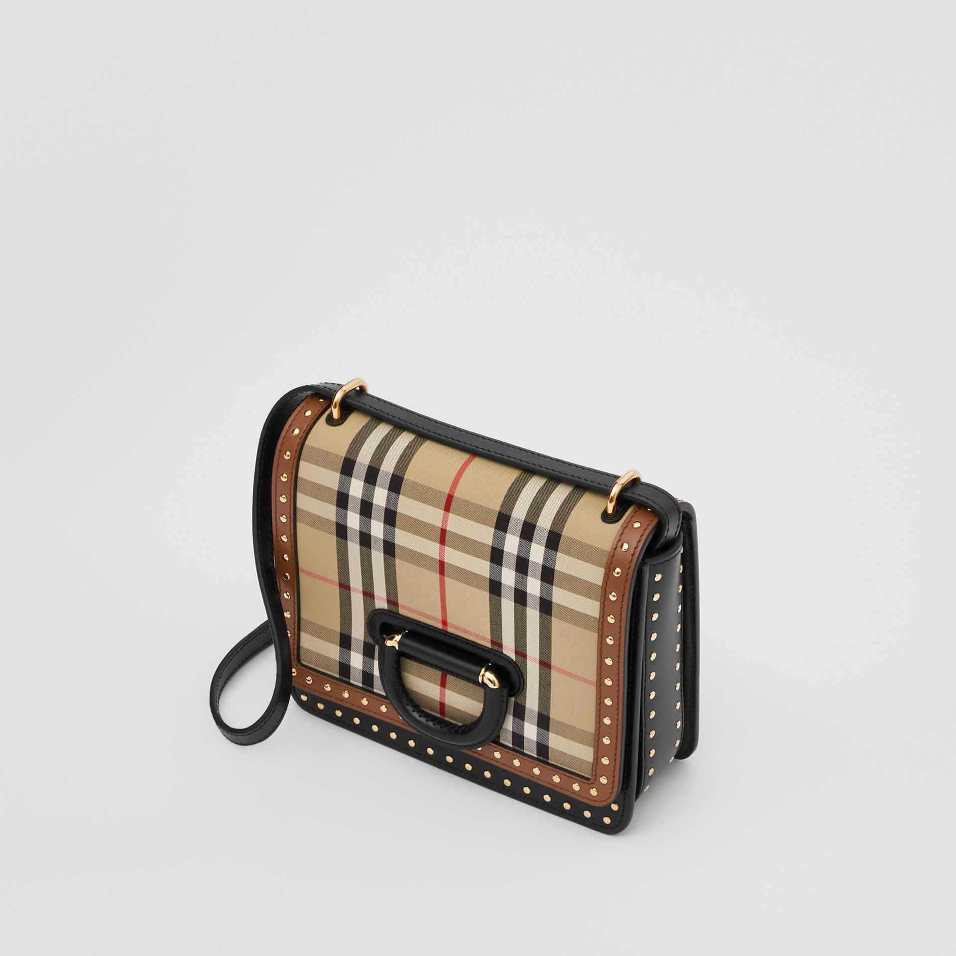 The Small Leather and Vintage Check D-ring Bag in Archive Beige - Women | Burberry - gallery image 2