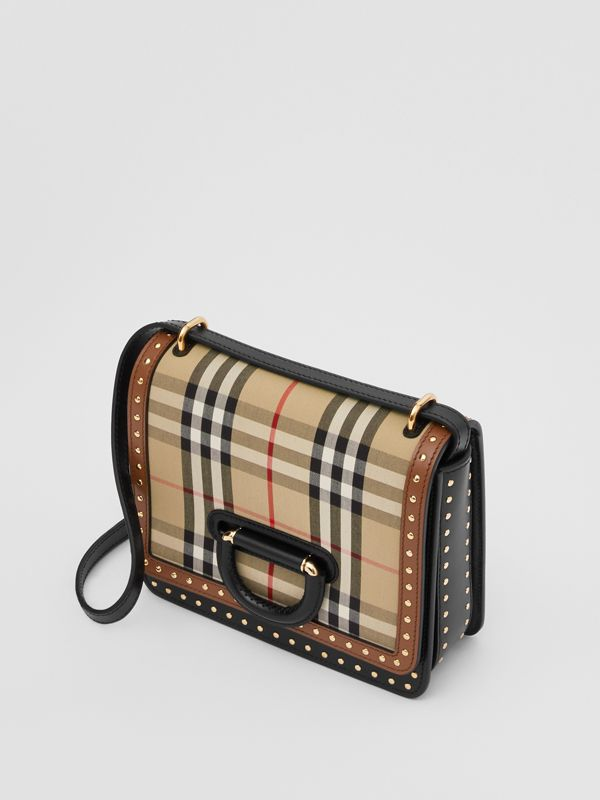 Borsa The D-ring piccola in pelle con dettagli Vintage check (Beige Archivio) - Donna | Burberry - cell image 3
