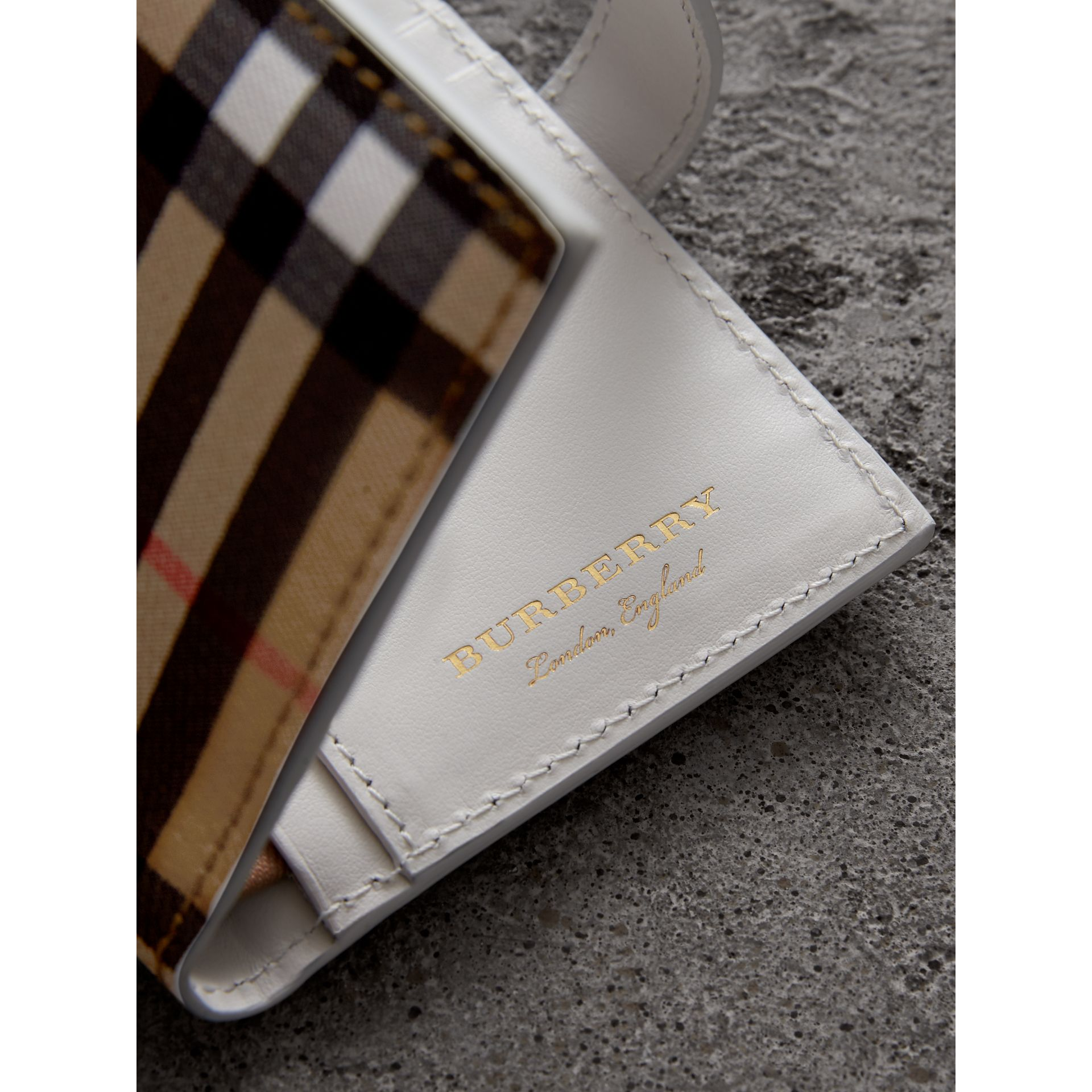 Vintage Check and Leather Folding Wallet in Chalk White - Women | Burberry Singapore - gallery image 1