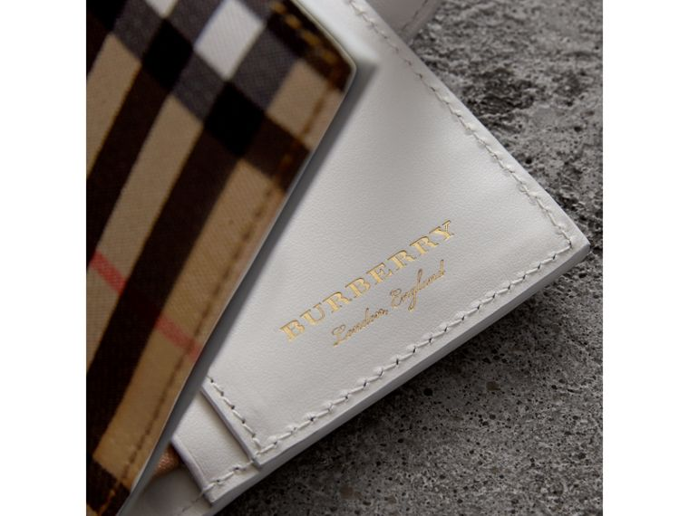 Vintage Check and Leather Folding Wallet in Chalk White - Women | Burberry - cell image 1