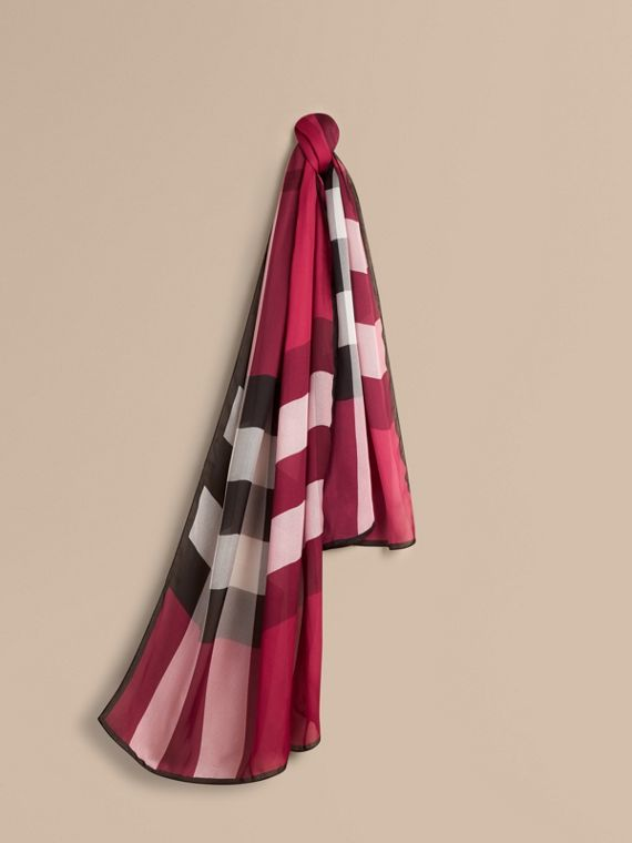 Lightweight Check Silk Scarf in Fuchsia Pink