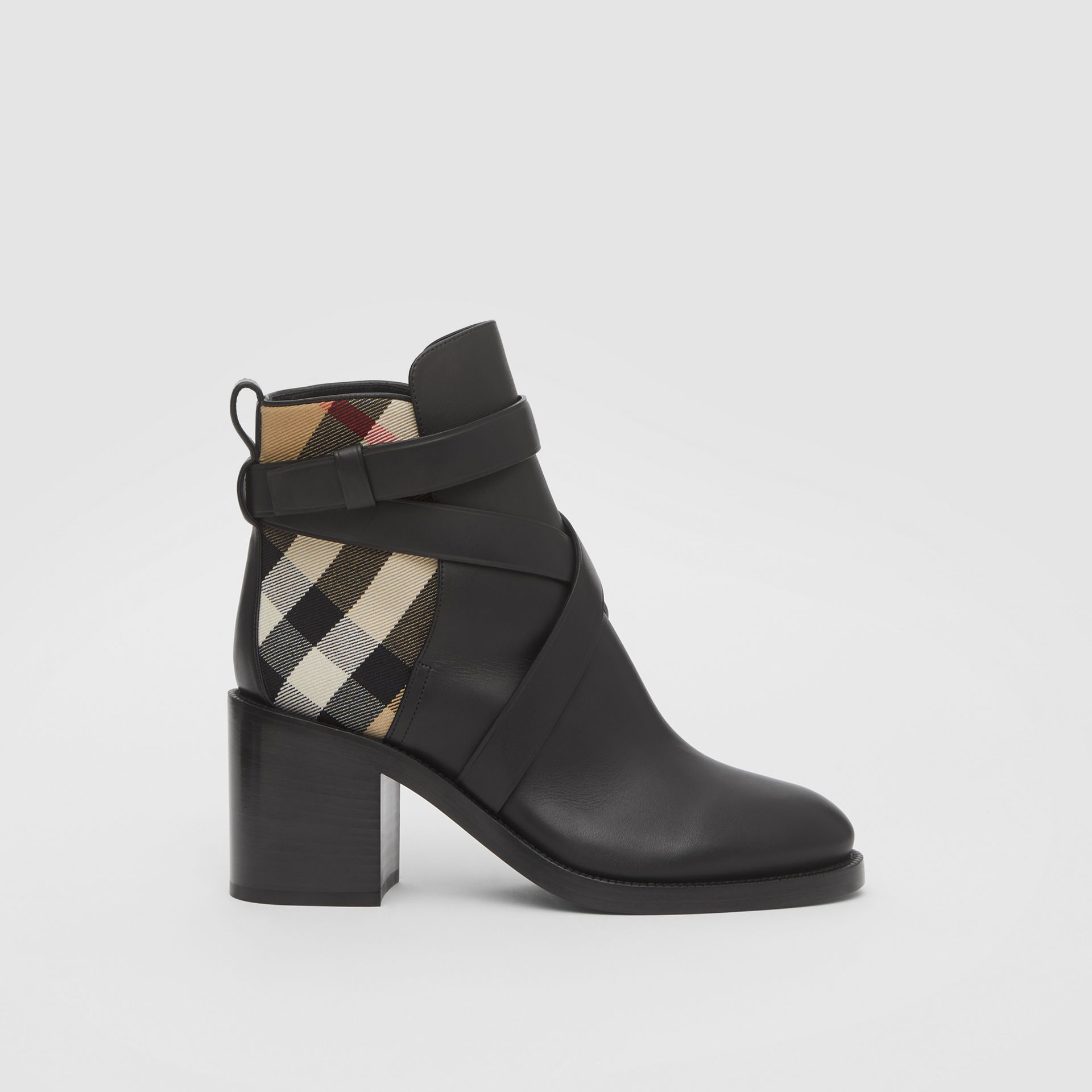 Vintage Check and Leather Ankle Boots in Black/archive Beige - Women | Burberry United Kingdom - gallery image 5