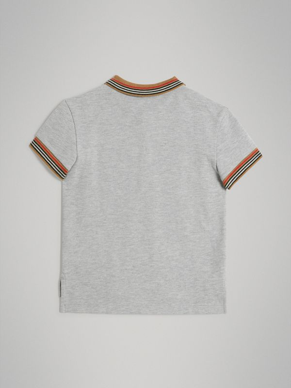 Heritage Stripe Detail Cotton Polo Shirt in Grey Melange - Boy | Burberry - cell image 3