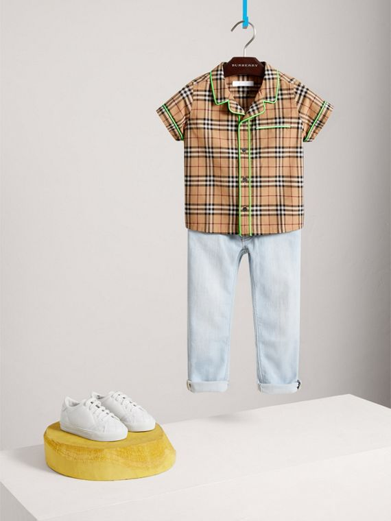 Short-sleeve Piped Check Cotton Shirt in Camel