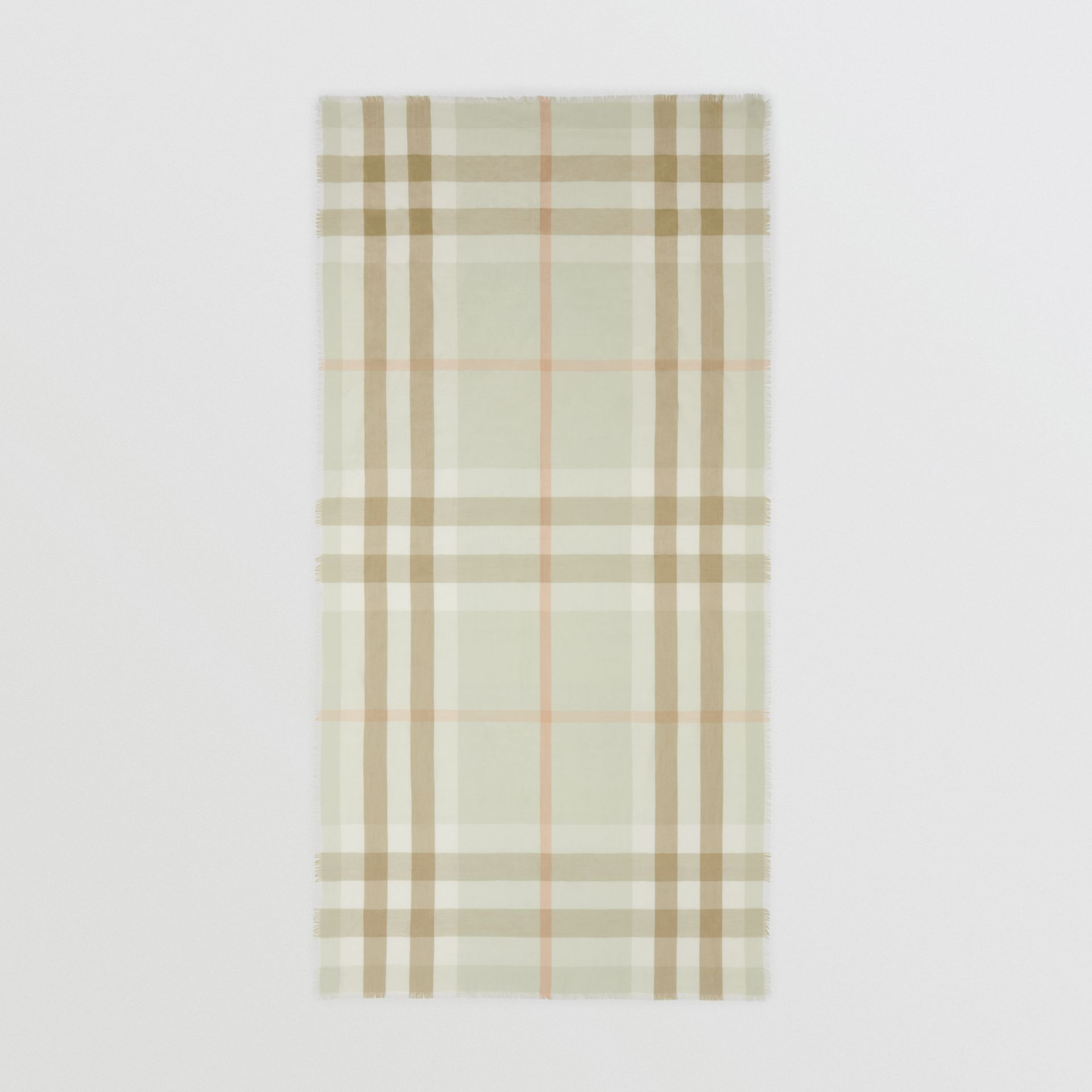 Lightweight Check Cashmere Scarf in Pale Apple Green | Burberry - gallery image 4