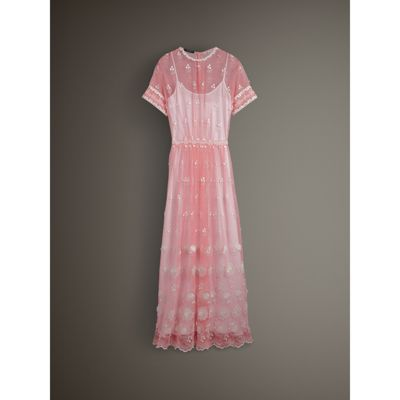 Short sleeve Embroidered Tulle Dress in Rose Pink white Women