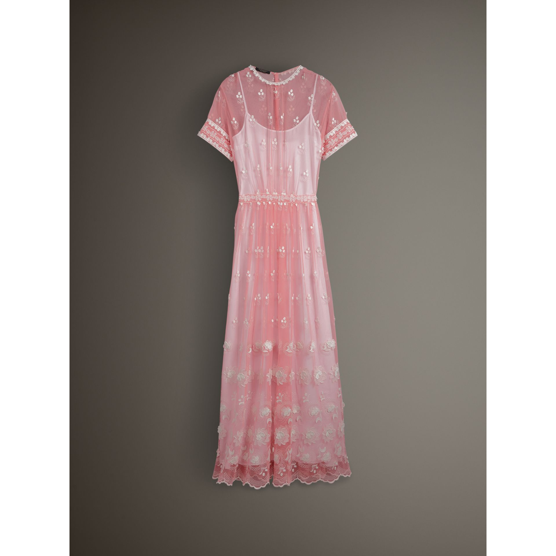 Short-sleeve Embroidered Tulle Dress in Rose Pink/white - Women | Burberry Australia - gallery image 3