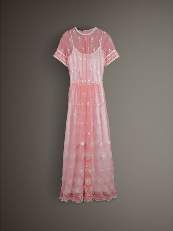 Short-sleeve Embroidered Tulle Dress in Rose Pink/white - Women | Burberry - cell image 3