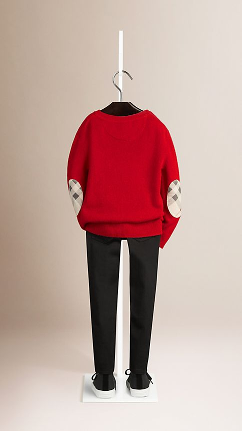 Military red Check Elbow Patch Cashmere Sweater - Image 2
