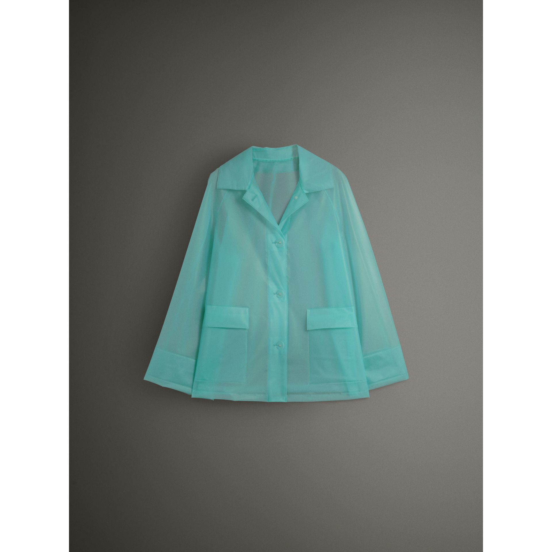 Soft-touch Plastic Single-breasted Jacket in Turquoise - Women | Burberry - gallery image 4