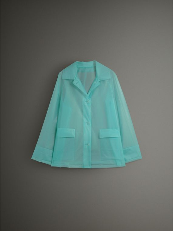 Soft-touch Plastic Single-breasted Jacket in Turquoise - Women | Burberry - cell image 3