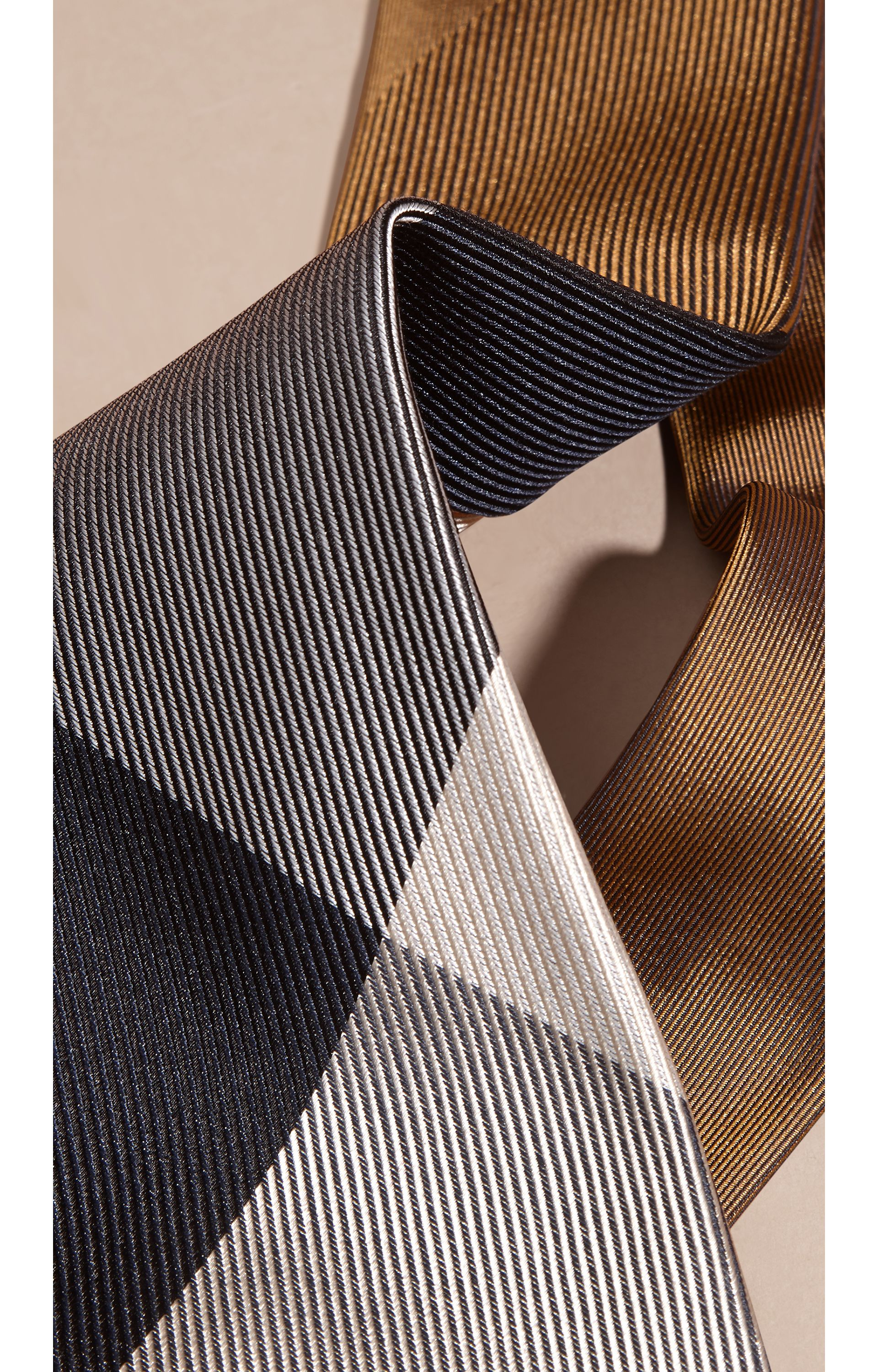 Ochre brown Modern Cut Check Jacquard Silk Tie Ochre Brown - gallery image 2