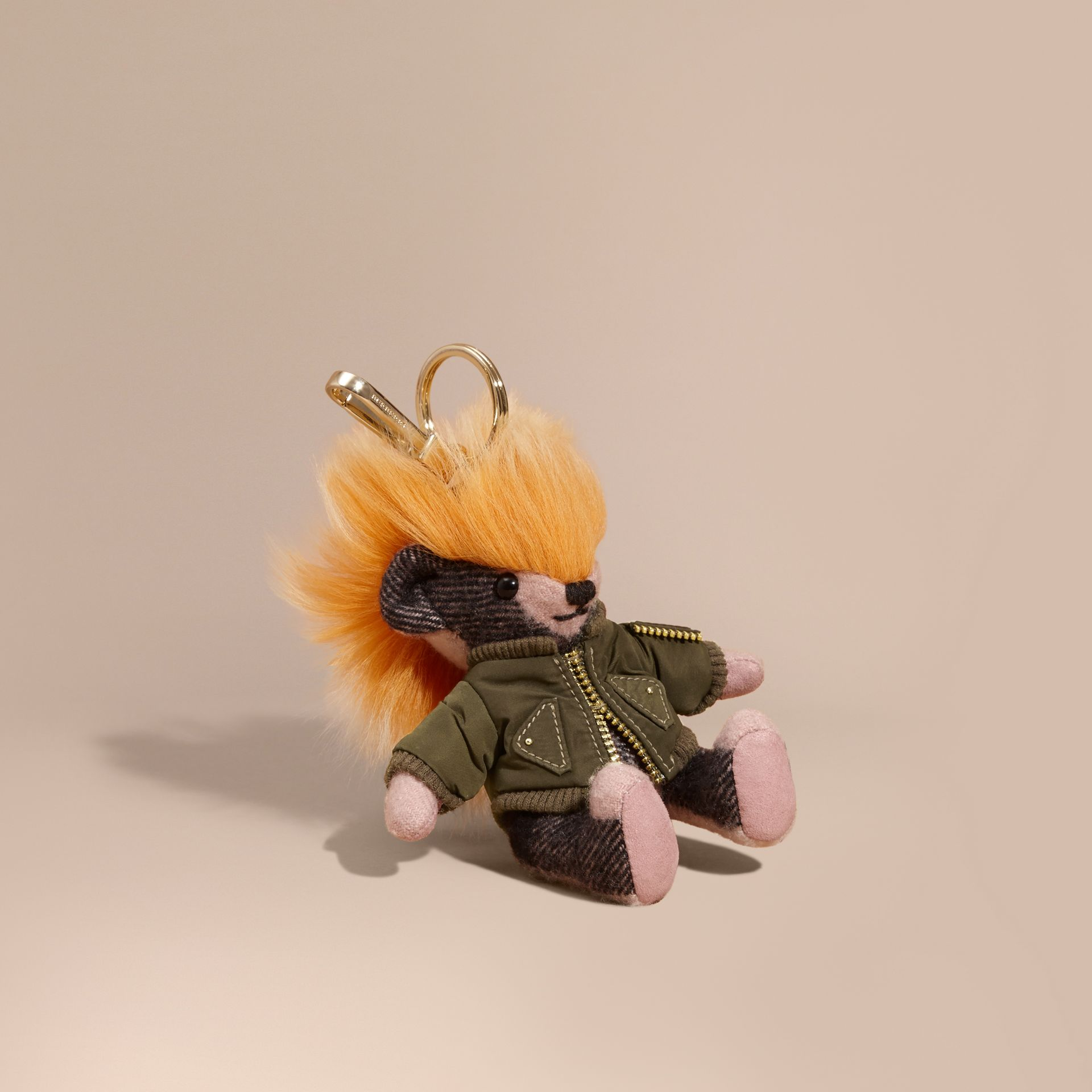 Thomas Bear Charm with Shearling and Pallas Heads Appliqué Bomber in Ash Rose - Women | Burberry Australia - gallery image 1