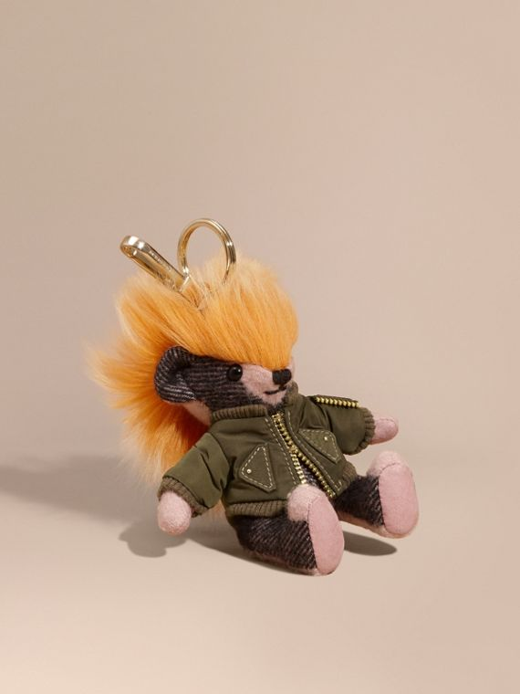 Thomas Bear Charm with Shearling and Pallas Heads Appliqué Bomber in Ash Rose