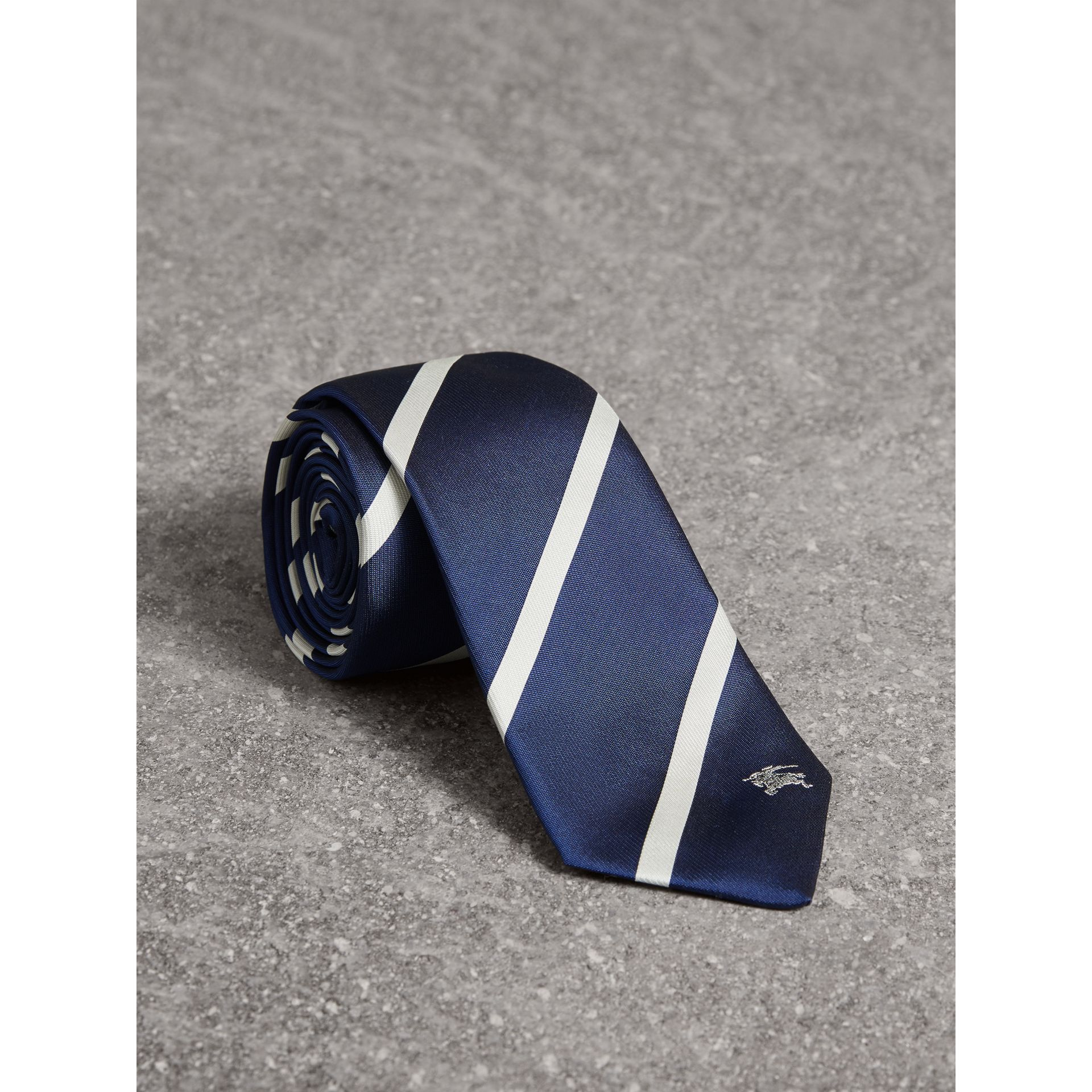Slim Cut Striped Silk Twill Tie in Navy - Men | Burberry Canada - gallery image 1
