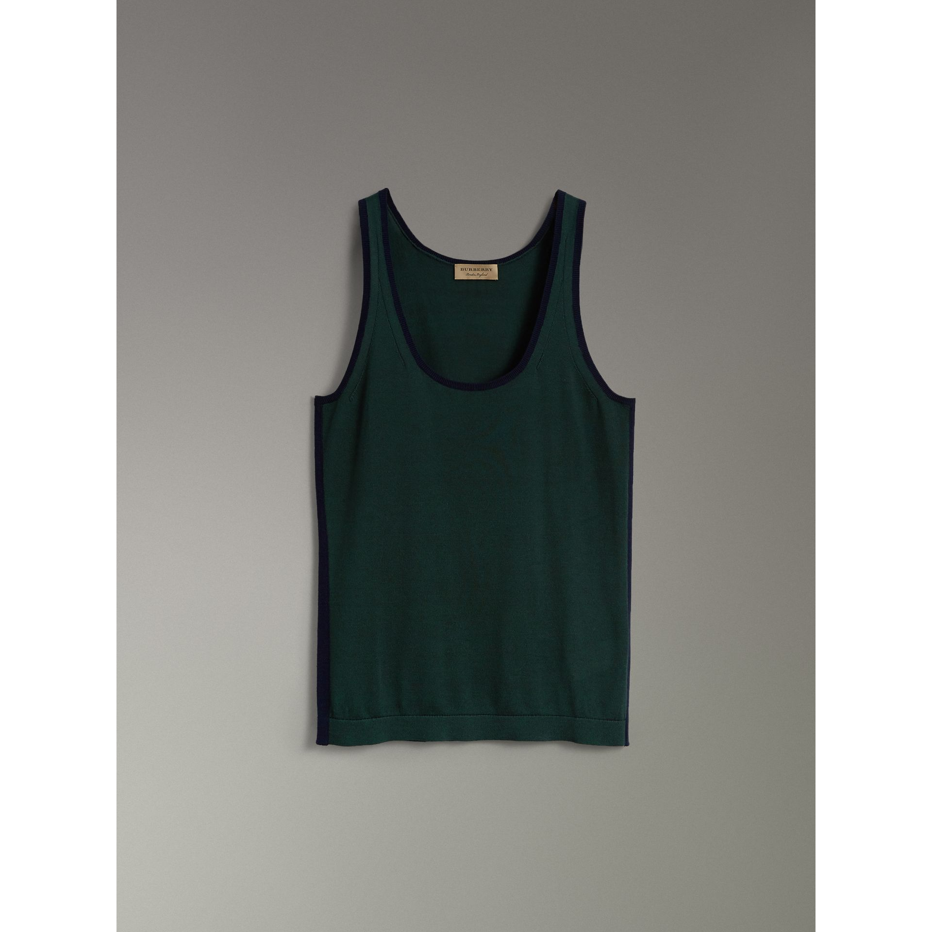 Silk Cashmere Vest in Pigment Green - Women | Burberry - gallery image 3