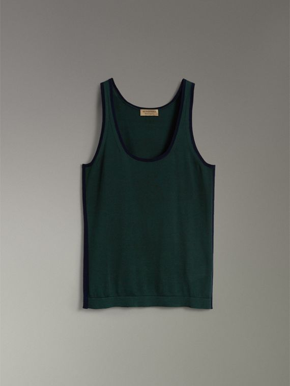 Silk Cashmere Vest in Pigment Green - Women | Burberry United Kingdom - cell image 3