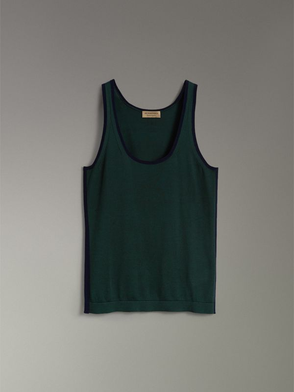 Silk Cashmere Vest in Pigment Green - Women | Burberry Hong Kong - cell image 3