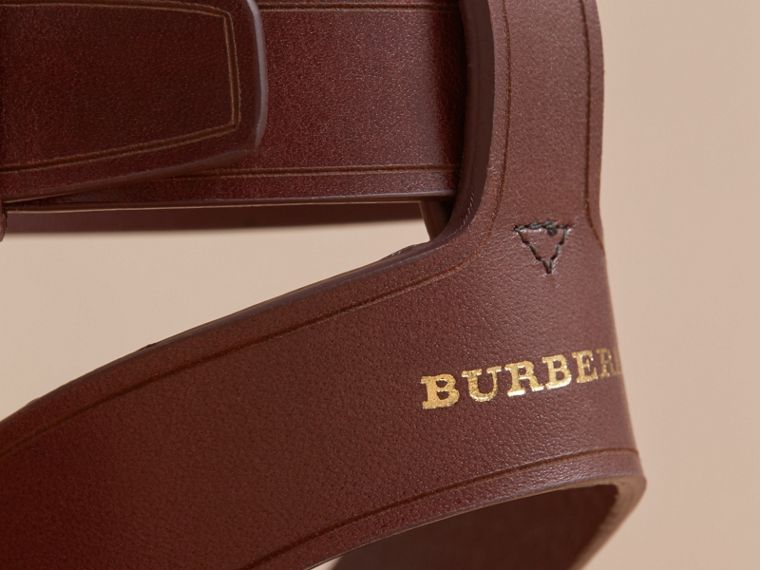 Leather and Check Linen Cotton Espadrille Sandals in Cerise Purple - Women | Burberry - cell image 4