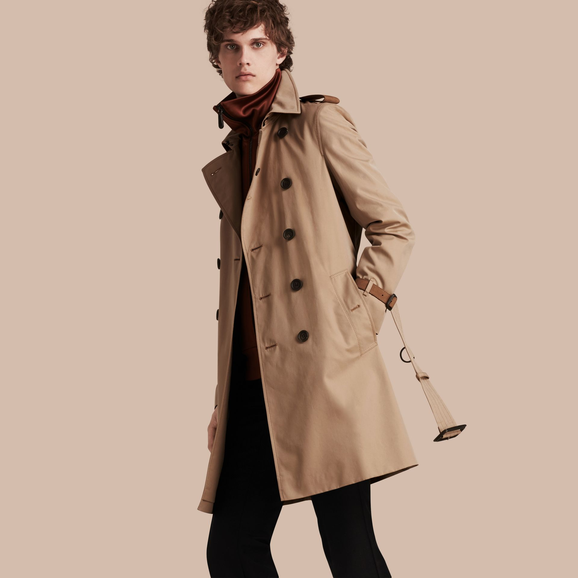 Honey Leather-trimmed Cotton Trench Coat - gallery image 1