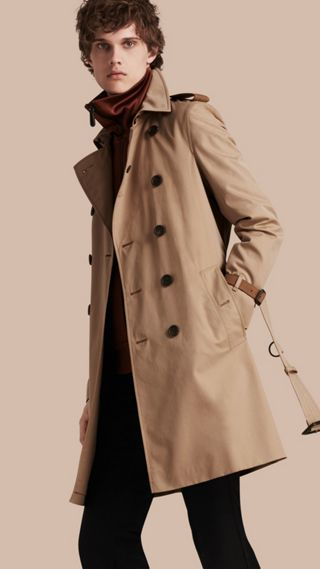 Trench coat in cotone con finiture in pelle