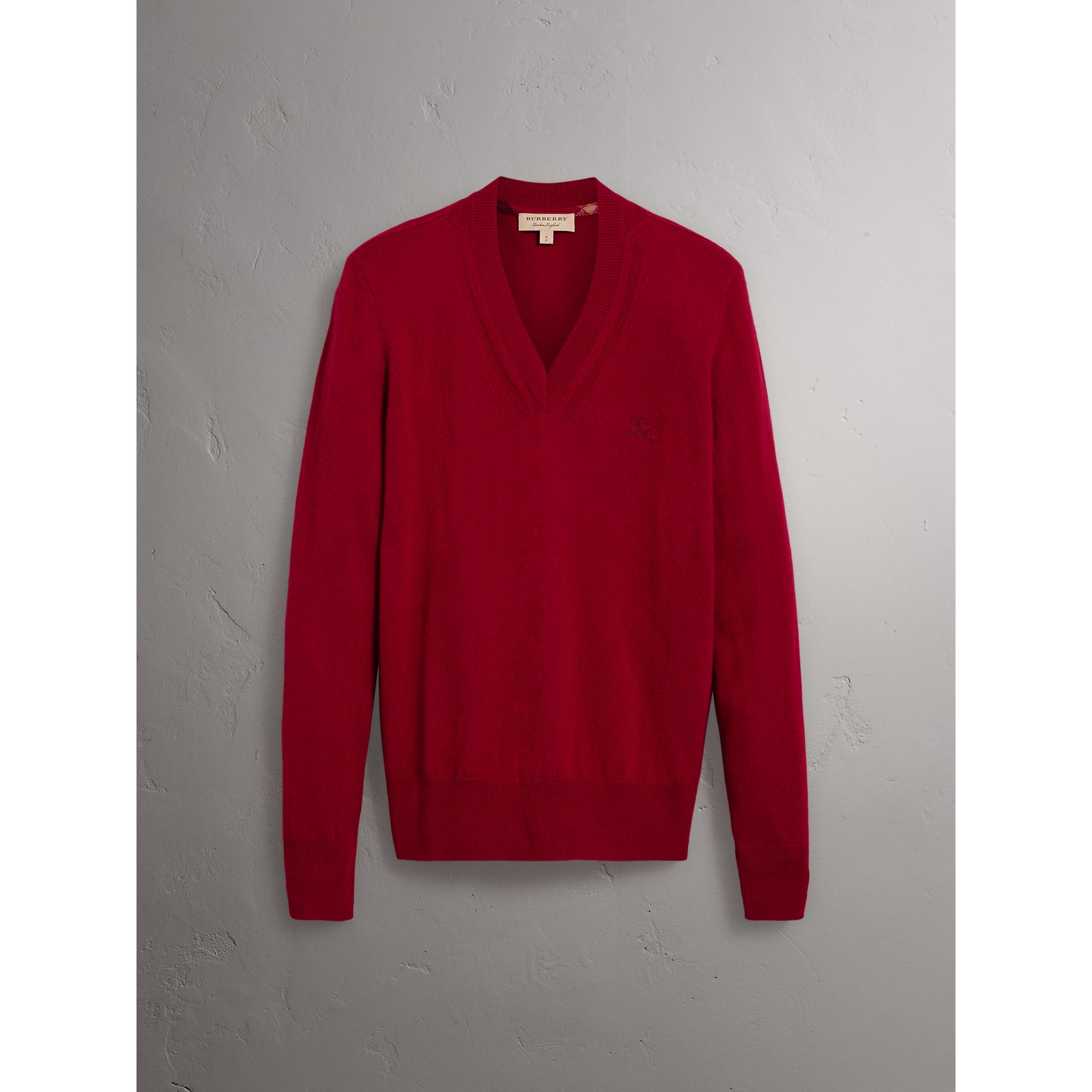 Cashmere V-neck Sweater in Crimson Red - Men | Burberry Australia - gallery image 3