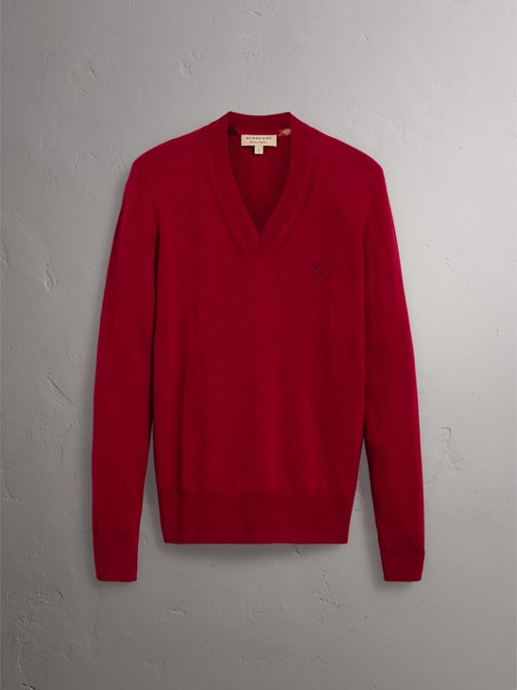 Cashmere V-neck Sweater in Crimson Red - Men | Burberry Singapore - cell image 3