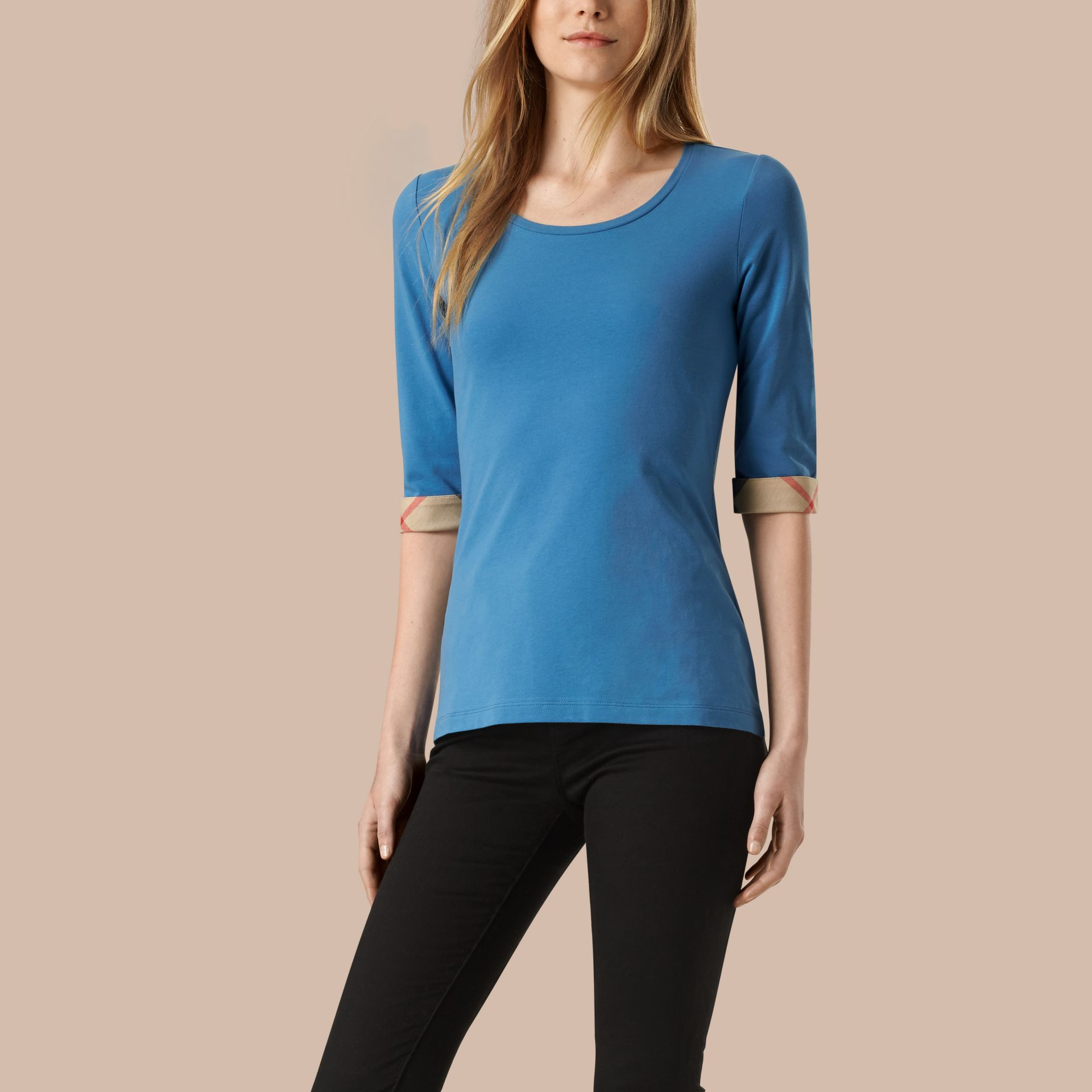 Lupin blue Check Cuff Stretch-Cotton Top - gallery image 1