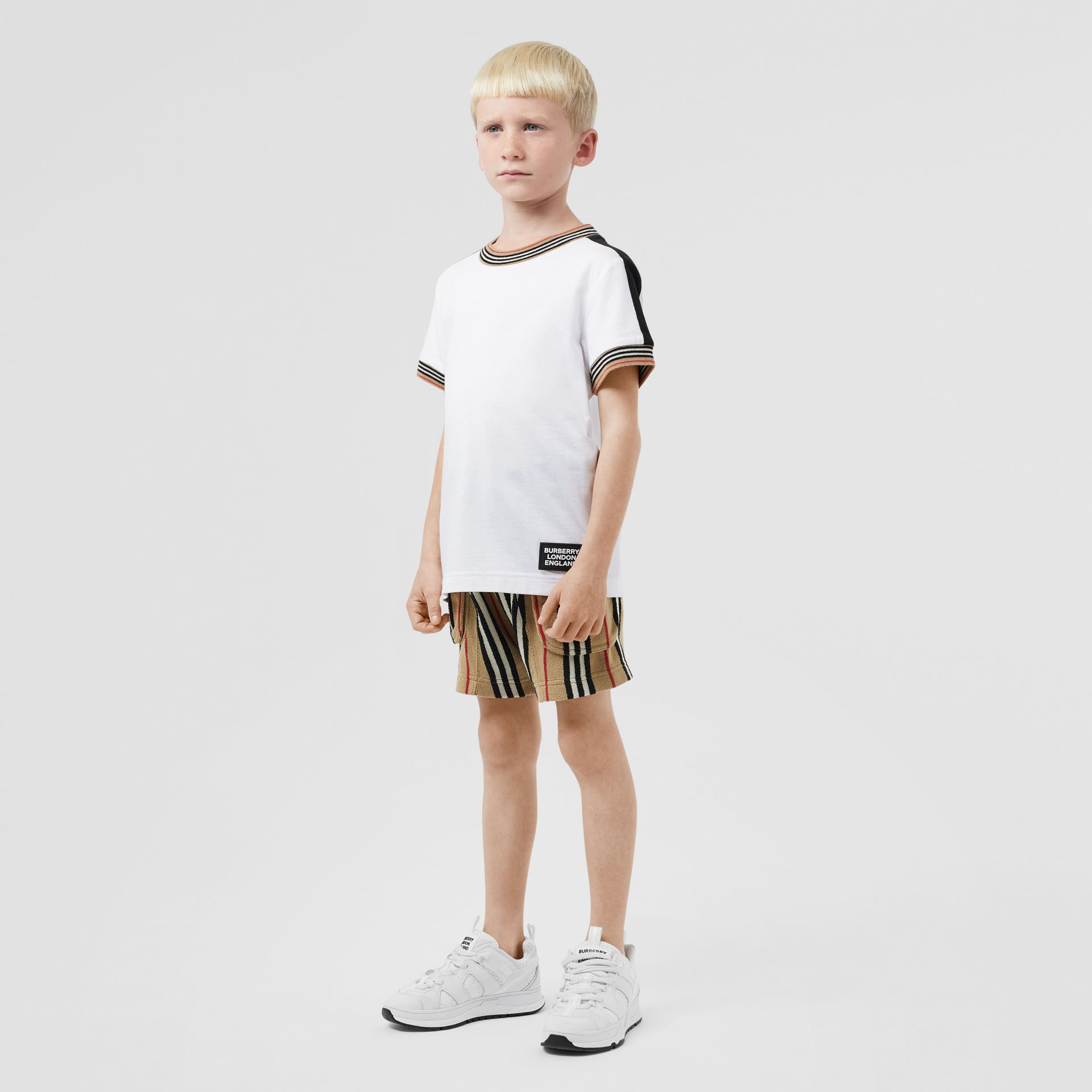 Icon Stripe Trim Cotton T-shirt in White | Burberry Singapore - gallery image 2