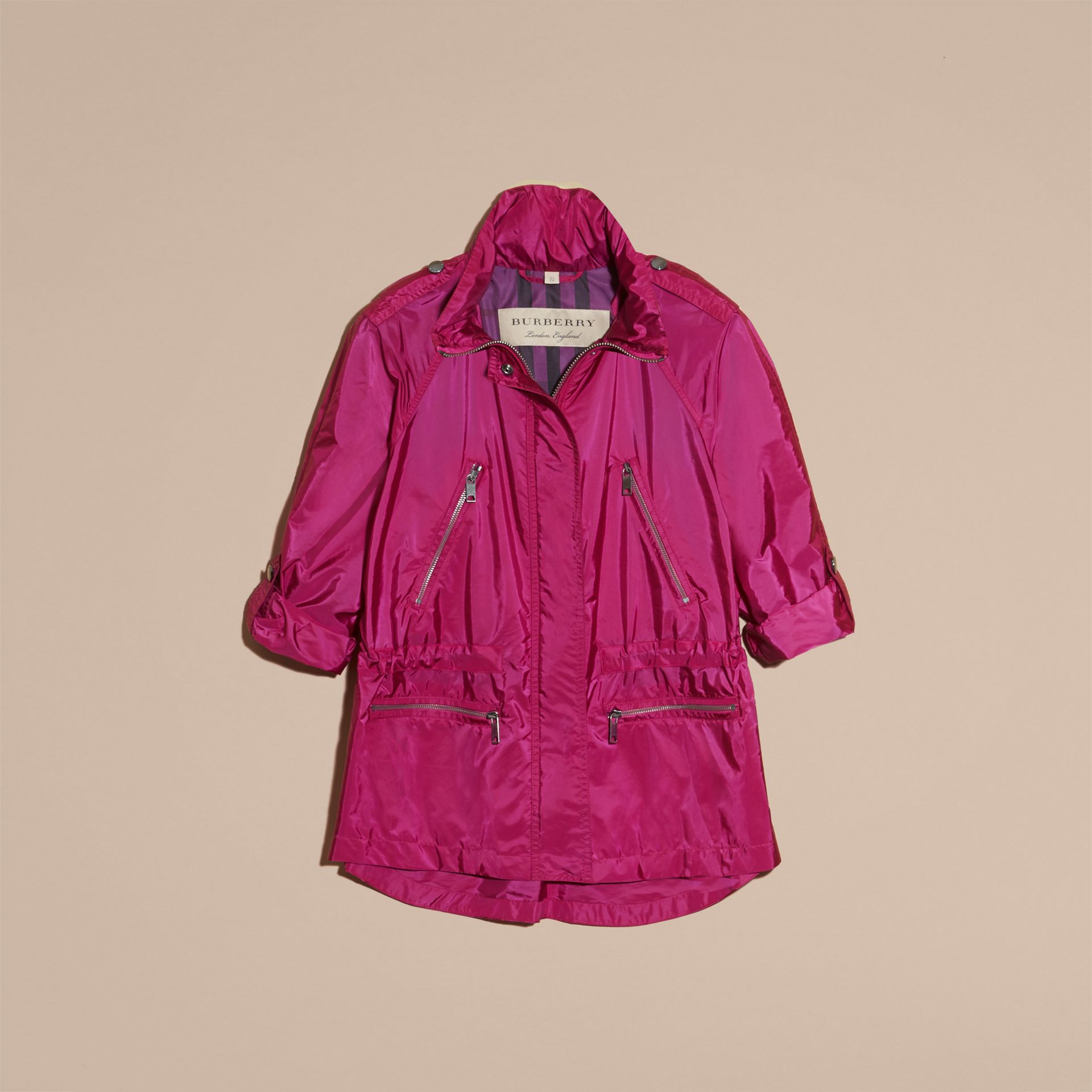 Showerproof Parka Jacket with Packaway Hood in Fuchsia - gallery image 4