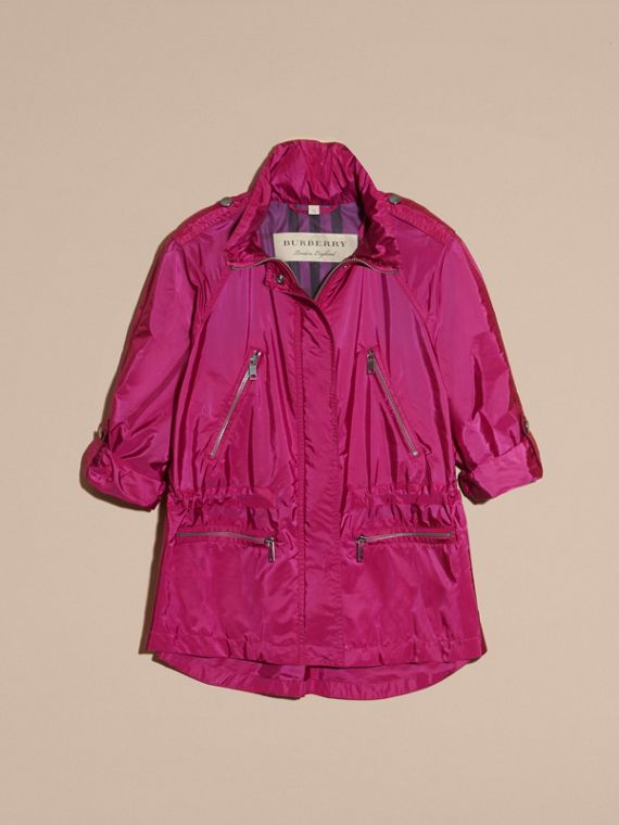 Showerproof Parka Jacket with Packaway Hood in Fuchsia - cell image 3