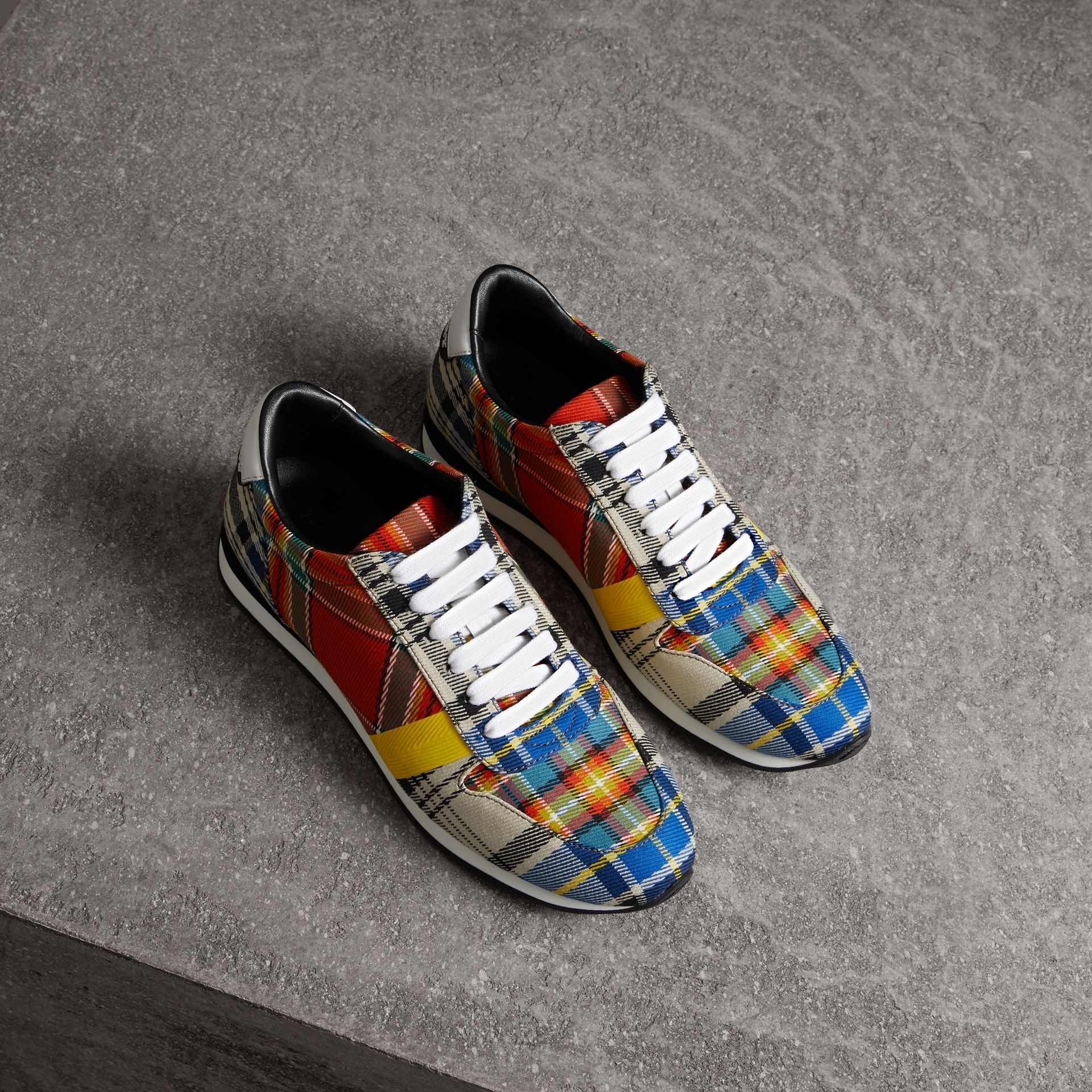 Tartan Cotton Sneakers in Chalk White - Women | Burberry United Kingdom - gallery image 0