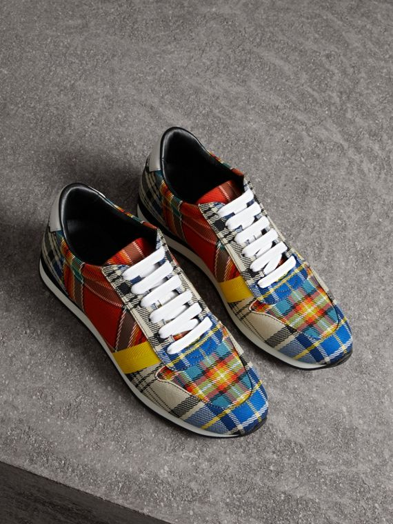 Tartan Cotton Sneakers in Chalk White