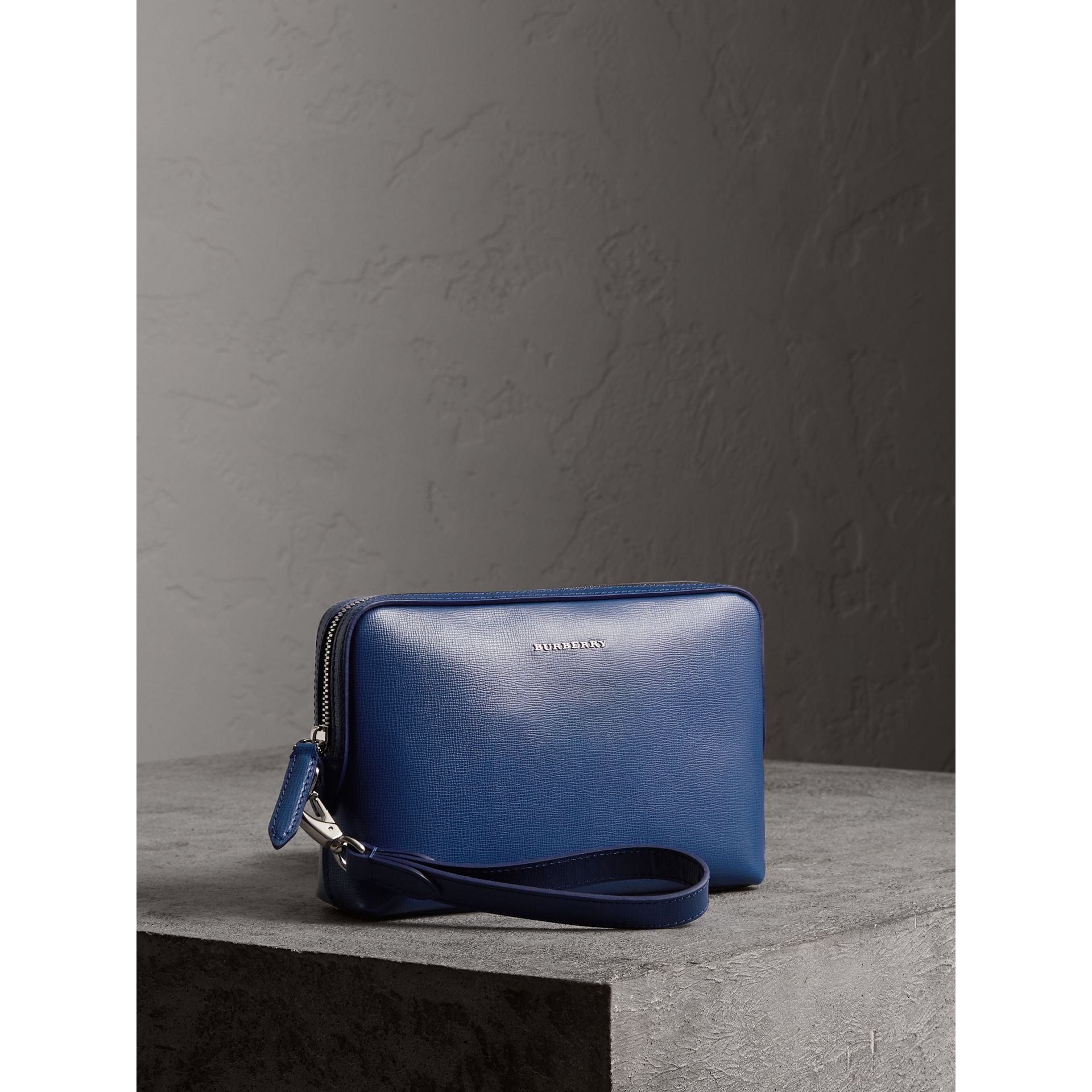 London Leather Pouch in Deep Blue - Men | Burberry - gallery image 6