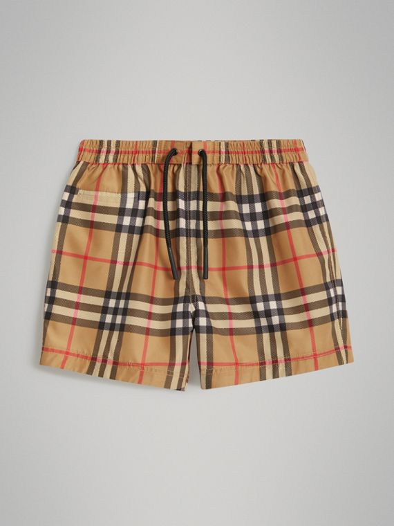 Check Swim Shorts in Antique Yellow